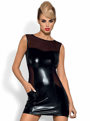 seXy Wetlook Kleid Fetisch Spiele Domina Erotik Swinger Club Dress S-M L-XL