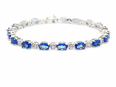 Sterling Silver Tanzanite And Diamond 7.86ct Tennis Bracelet (925)