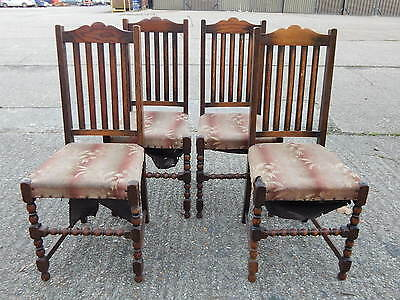 4x antique bobbin turned solid oak & fabric dining chairs with tall slat backs
