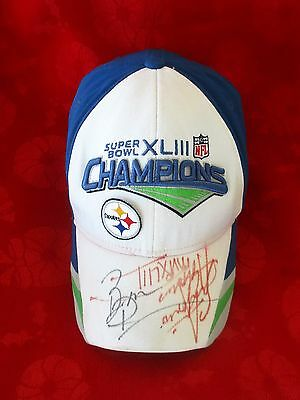 Super Bowl XLIII Steelers Hand Signed Hat/Cap * Roethlisberger + Holmes