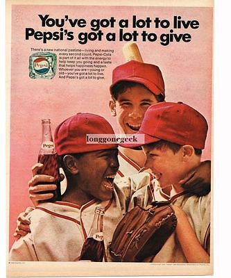 1970 Pepsi Young Boys In Baseball Uniforms Little League Vtg Print Ad