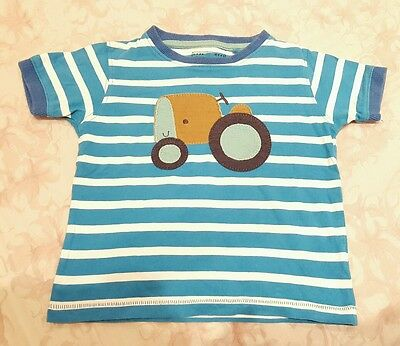 Next Blue and White Striped Tractor t-shirt size 12-18 months