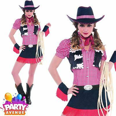Cowgirl Rawhide Cowboy Costume Ladies Western Fancy Dress Womens Outfit