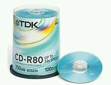 CD-r vierge TDK x100 CDR - 80Min 700Mb - 52x - Cakebox - Support de stockage