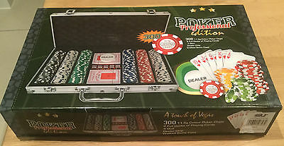 Poker Professional Edition 300 Chips 2 Decks Of Cards 4 Dice Dealer & Chip Case