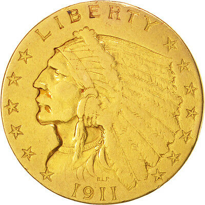 [#415649] United States, Indian Head, $2.50, Quarter Eagle, 1911, U.S. Mint,...