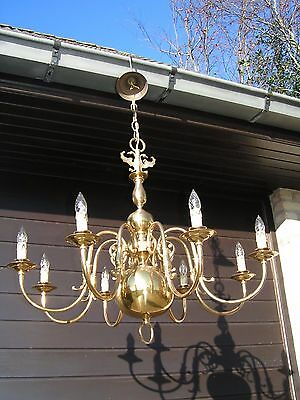 *** Magnifique &  XL vintage 8  light Flemish chandelier.*** LOOK  at this 1 !!