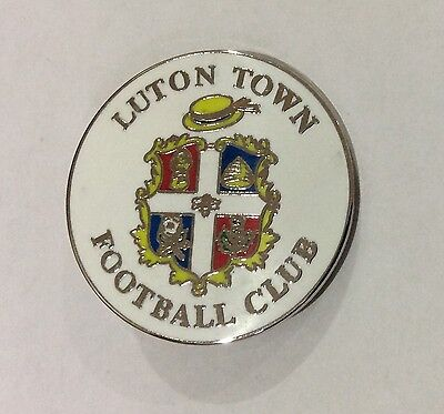 LUTON TOWN Badge Football Club FC Supporters White Pin 28 mms. CHRISTMAS PRESENT