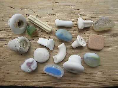 Sea Beach Glass & Pottery. 17 Interesting beach finds. Surf-tumbled & frosted.