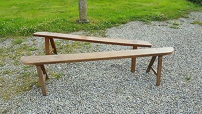Pair of Pine Antique French Church Pew or School A Frame Both Benches 6ft