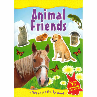 Animal Friends A4 Sticker Book Over 70 Reusable Stickers Kids Educational Pets