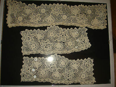 antique vintage lace dress collar and cuff set ? victorian framed ivory cream