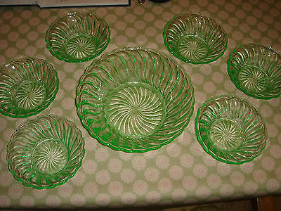 art deco ? uranium glass green fruit set dishes bowls pressed glass ? bagley