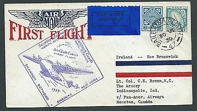 Ireland 1939 First Flight To  New Brunswick Illustrated Nice!