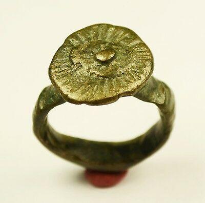 Massive Late Roman Or Byzantine Ring With Crown Shaped Bezel