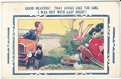 Bamford Auto Comic Postcard with Old Cars and Girls Legs 1937 Risque