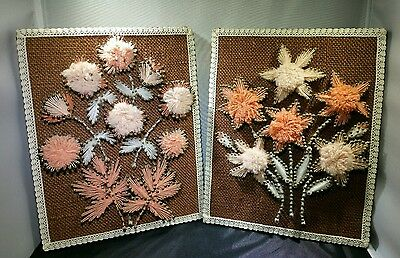 "Vintage Hippie Retro Groovy Nail String Art 10 x 8"" Framed Flowers Wall Set of 2"