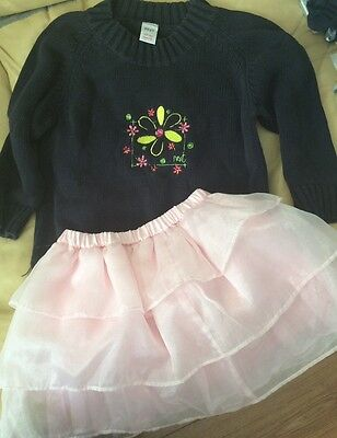Cute outfit. Blue jumper From Next and pink tutu style skirt. Age 3 - 4.