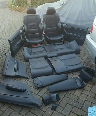 Bmw E46 Coupe Black Leather Interior Full Electric Seats Door Cards & More