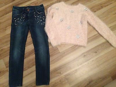 Next Jewel Effect Dark Skinny Jeans Age 8 And Pink Jewel Effect Jumper 7-8 Years