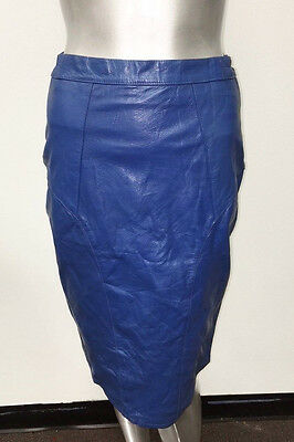 VINTAGE ROYAL BLUE REAL LEATHER WAIST HIGH ZIP UP SKIRT sz S