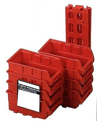 8 Stackable Plastic Small Parts Bin Storage Organizer Racking W/ Mounting Rails