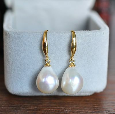 Huge Aaa 10-13Mm Natural South Sea White Pearl Earrings 14K Solid Gold