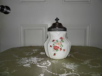 Antique  Satin Glass Square Covered Biscuit Cracker Jar