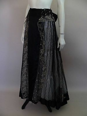 Elegant original Victorian black and white lace skirt with cut steel buckle