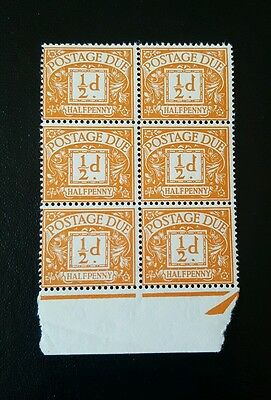 LL02 GB SG D56 Multiple Crown Block of 6 Postage Due MINT