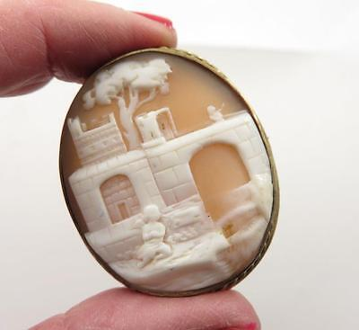Victorian Lg Castle Waterfall Angel Hiding Themed Scenic Shell Cameo Gf Frame
