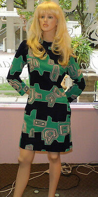 FABULOUS vintage 1960'S DAY or OFFICE DRESS DECO PATTERN in NAVY & TEAL m-lg