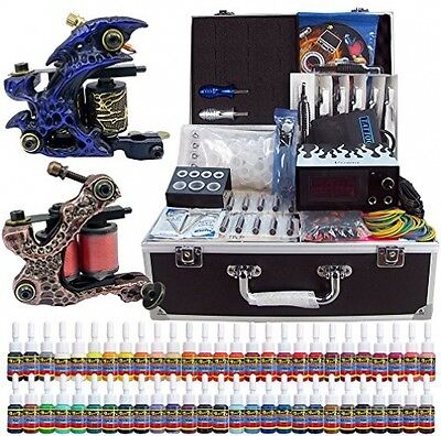 Solong Tattoo® Complete Tattoo Kit 2 Pro Machine Guns 54 Inks Power Supply