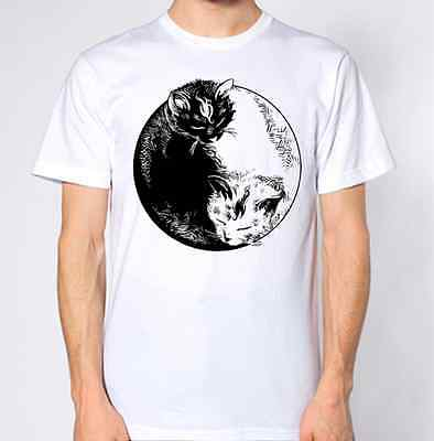 Cat Ying Yang T-Shirt New Kitten Kitty Top Art
