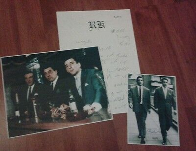 The Kray Twins Signed Pictures & Prison Letter. Ronnie & Reggie Kray.