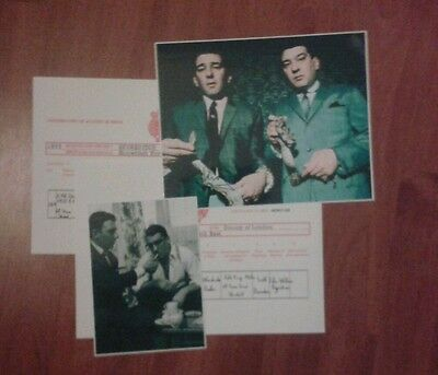 The Kray Twins Signed Pictures & Birth Certificates. Ronnie & Reggie. The Krays.