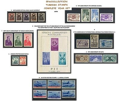 Turkey 1954, Complete Year Set, Includes Official And Definitive Stamps, Mnh