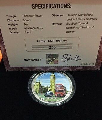 2012 2Oz Sterling Silver Elizabeth Tower Silver Proof Medal / Round Numisproof