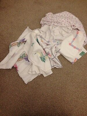 Job Lot vintage Hand Embroidered Table Cloths Linens x13