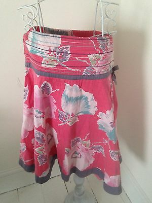 Monsoon Beautiful Pink Floral Skirt Age 10 - 12 Years Fully Lined 100% Cotton