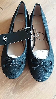 Women's Black Sparkly Flat Shoes F&f Bnwt Size 7 Original Packaging