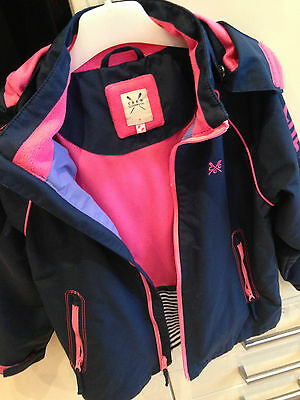 Girls navy and pink Crew jacket age 7 years