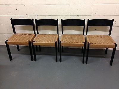 4 Vintage Danish  Rush Seated Wegner Style Black Chairs Nice Vintage Condition