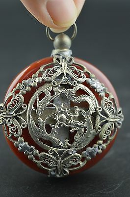 China Old Collectibles Agate Armoured Pair Dragon & Butterfly Rare Noble Pendant