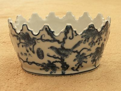Rare Antique Vintage Chinese Blue & White Planter Bowl Birds On Branches Signed