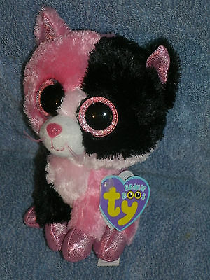 """Ty Boo DAZZLE ( PINK & BLACK CAT) 6"""" Mint/Mint tag * RARE * JUSTICE Exclusive"""