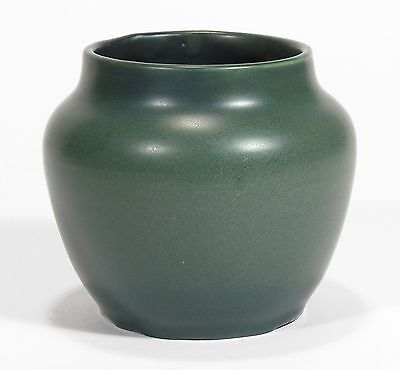 Hampshire Pottery hand thrown vase matte blue green glaze arts & crafts