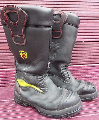 YDS Firefighter Leather Wellington Fireman Boots Size 8UK