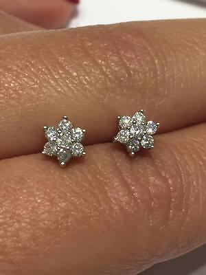 9ct white gold 0.25ct HSI1 diamond CLASSIC CLUSTER DAISY stud earrings GOY124