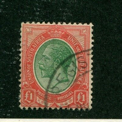 UNION of SOUTH AFRICA 1913 KGV used 1 POUND stamp $$$$$